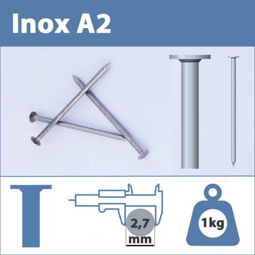 Pointe Inox A2 (304L) 2.7 X 70 mm  tête plate lisse  1kg