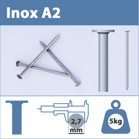 Pointe Inox A2 (304L) 2.7 X 70 mm  tête plate lisse  5kg