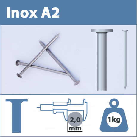 Pointe Inox A2 (304L) 2.0 X 35 mm  tête plate lisse  1kg