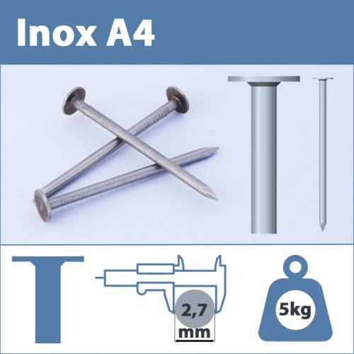 Pointe Inox A4 (316L) 2.7 X 35 mm lisse tête plate large  5kg