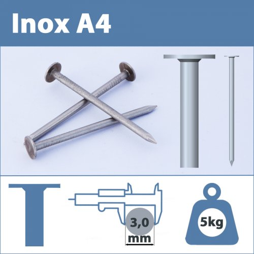 Pointe Inox A4 (316L) 3 X 50 mm lisse tête plate large  5kg
